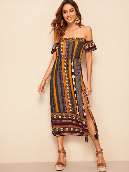 Off Shoulder Tribal Multi Color Split Dress
