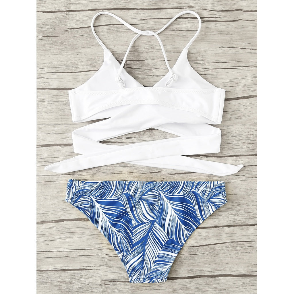 Trendy Crisscross Tropical Print Bikini Set