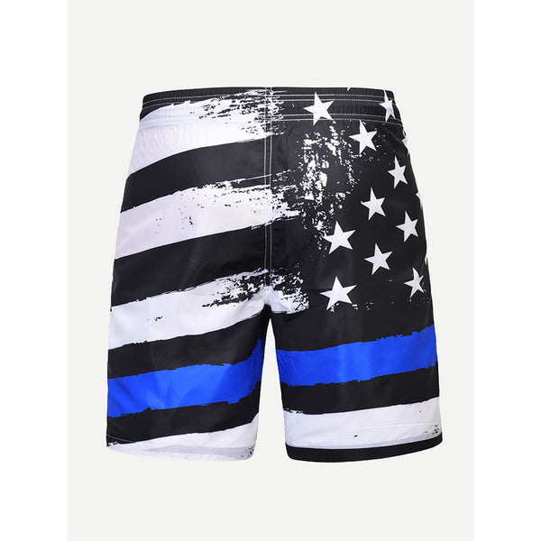 New Striped Style  Drawstring Beach Shorts