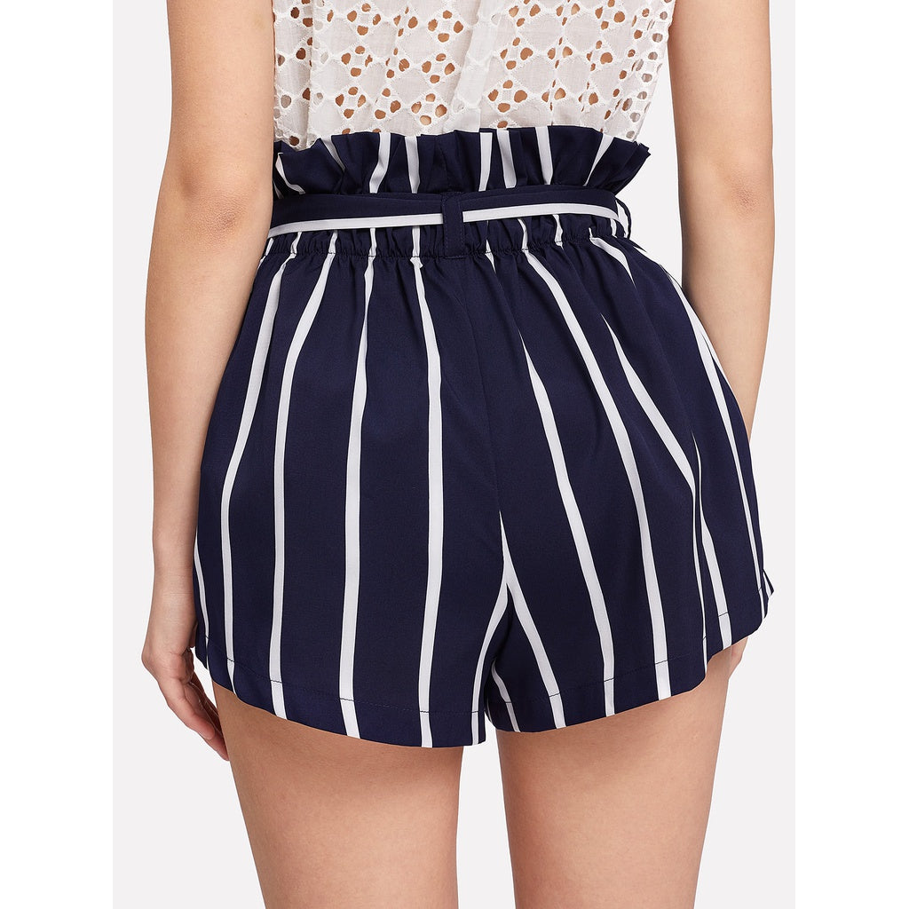 New Design Belted Ruffle Waist Striped Shorts