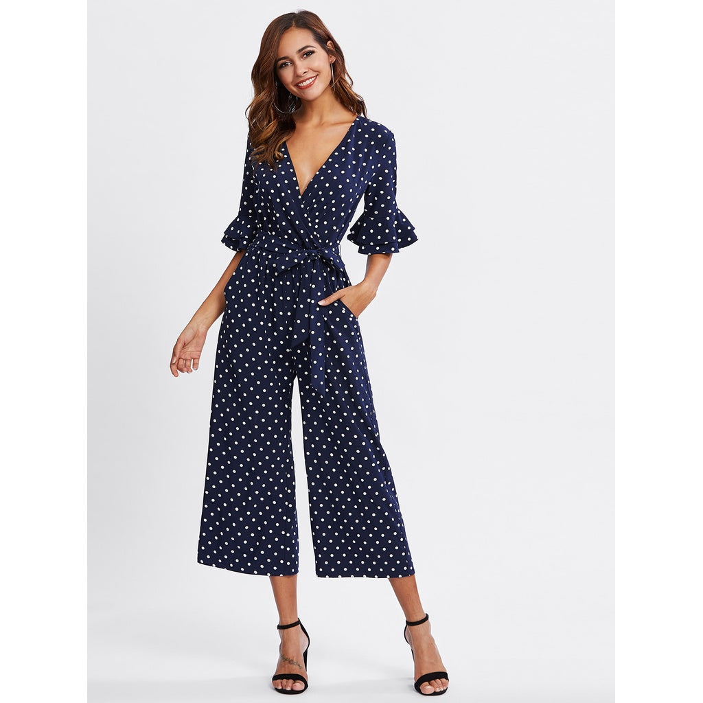 New Sublime Tiered Trumpet Sleeve Surplice Wrap Jumpsuit