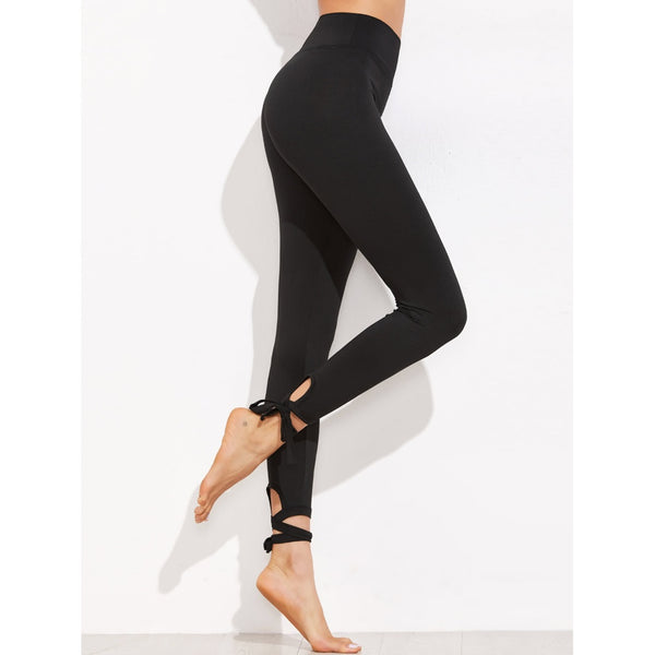 New Sporty Lace Up Hem Leggings - BrandsGuru