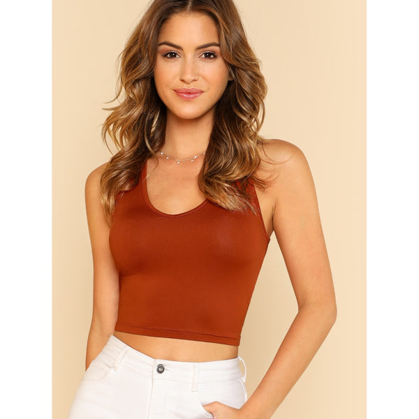 Exotic New Scoop Neck Crop Tank Top - BrandsGuru