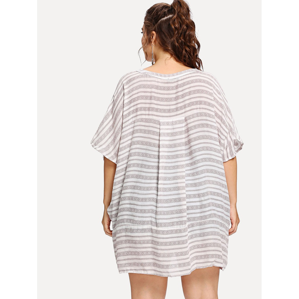Tasseled Tie Striped Batwing Top - BrandsGuru