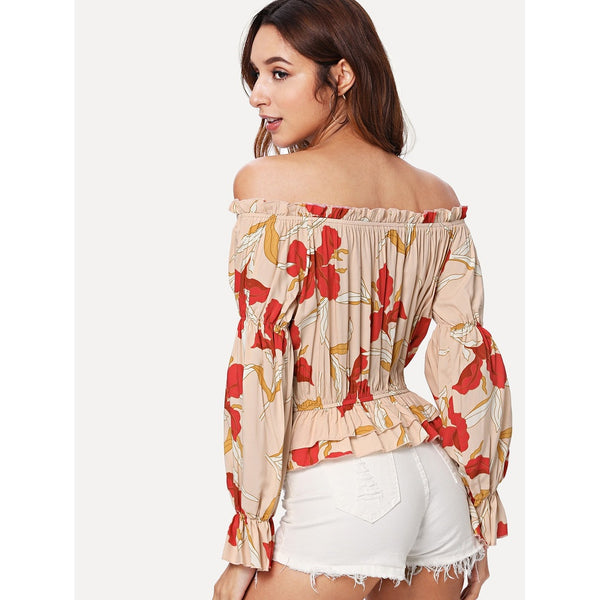 New Exotic Layered Ruffle Hem Floral Bardot Top - BrandsGuru