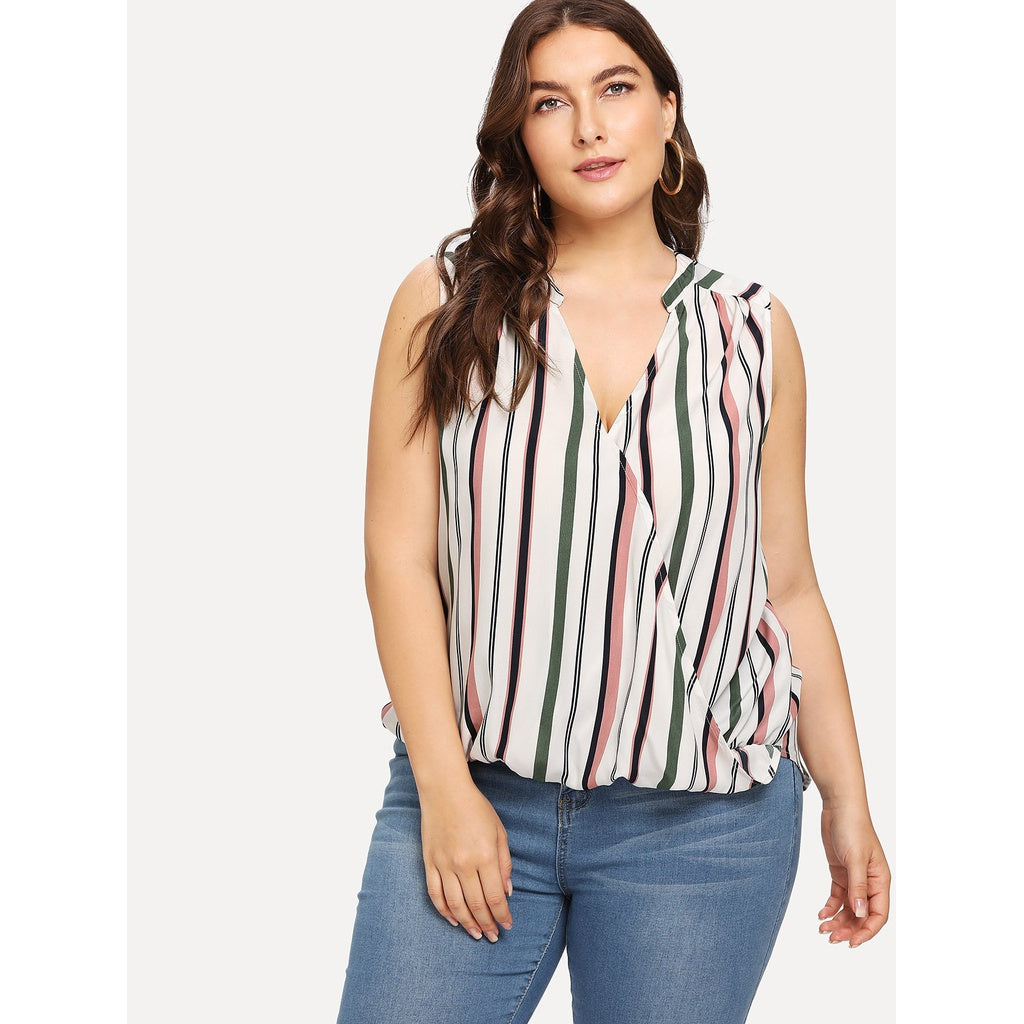 New High Low Striped Sleeveless Overlap Blouse