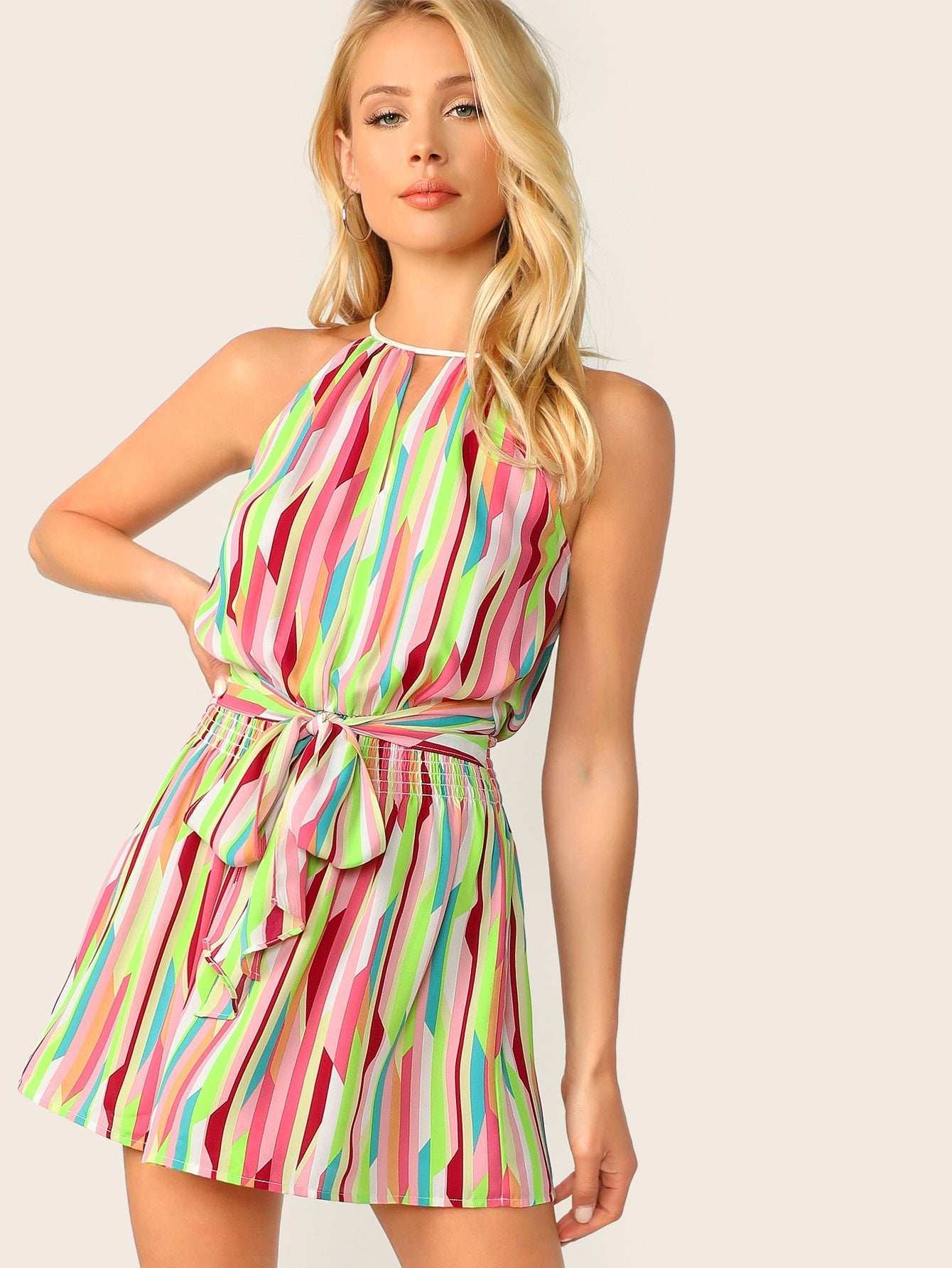 Halter Neck Multi Color Summer Dress - BrandsGuru
