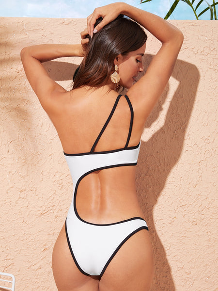 Contrast Piping Cut-out One Piece Swimsuit - BrandsGuru
