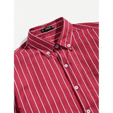 New Men Striped Style Pocket Patched Shirt