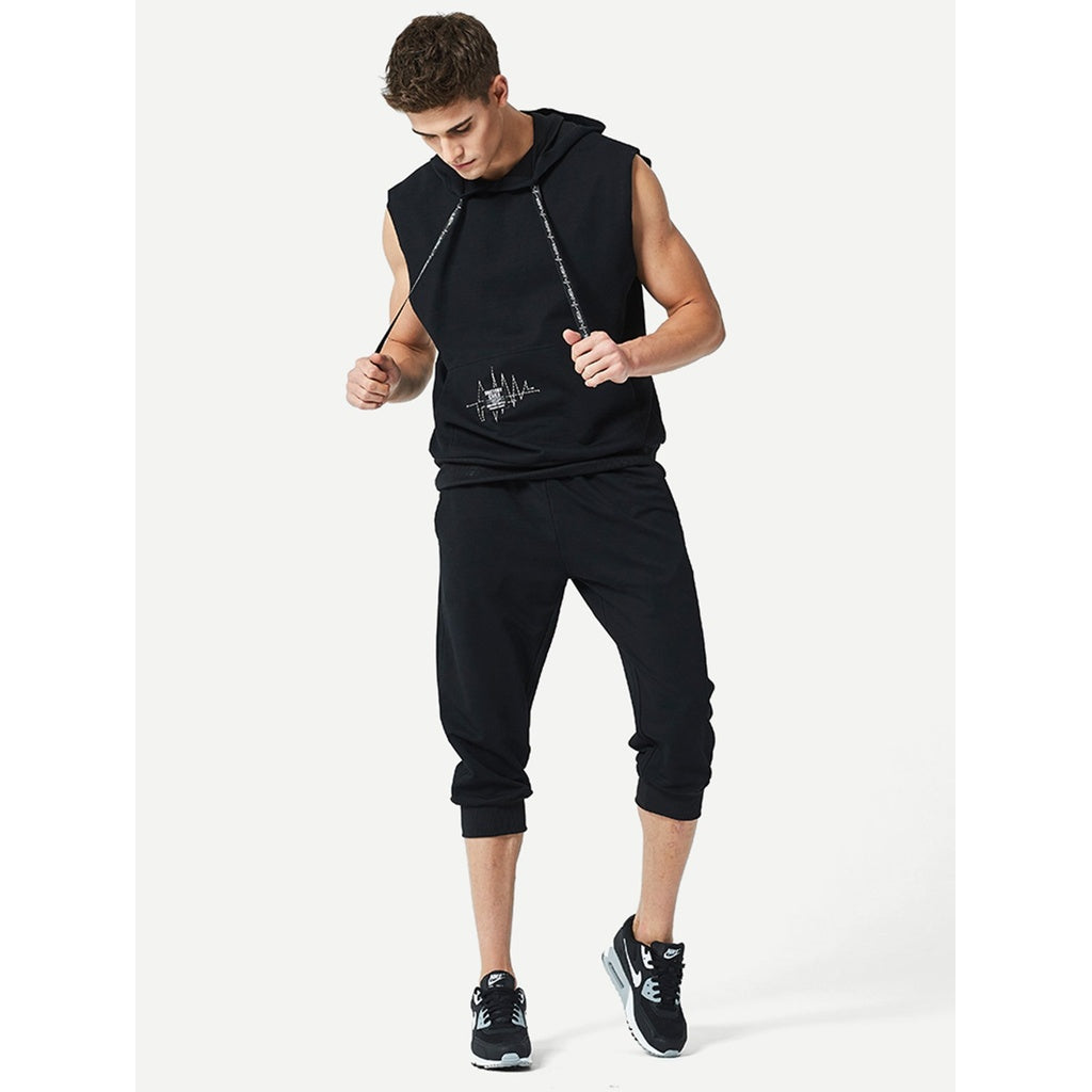 New Style Men Sleeveless Hoodie Sweatshirt With Drawstring Shorts