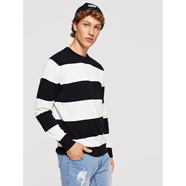 Casual Men Striped Round Neck Sweater - BrandsGuru