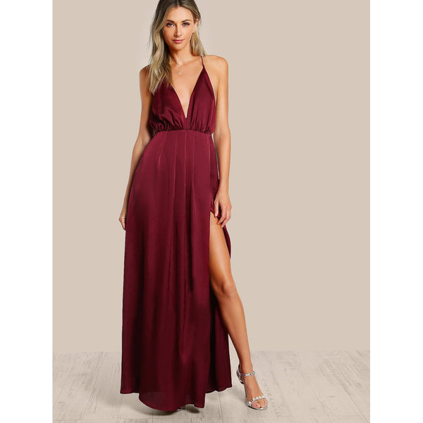 Elegant Plunge Neck Crisscross Back High Slit Wrap Cami Dress