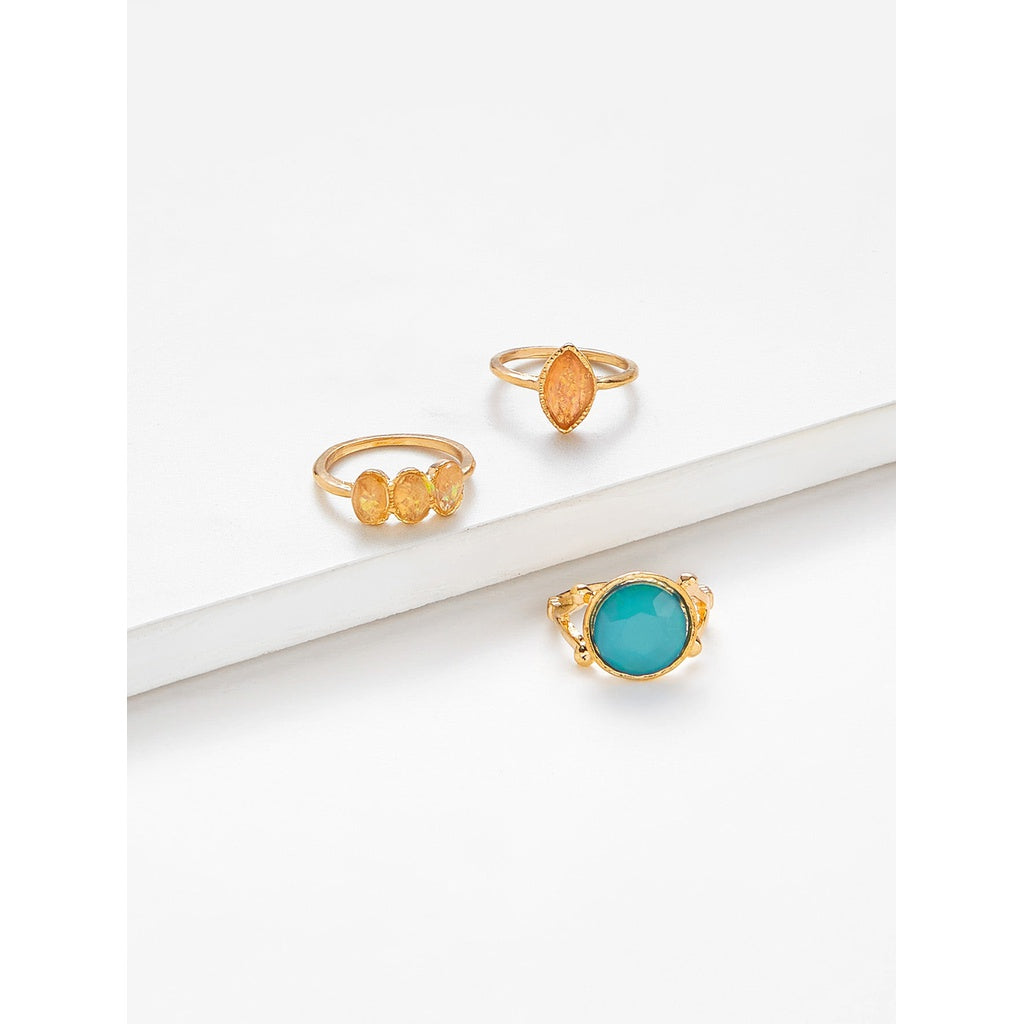 Gemstone Antique Style  3pcs Ring Set