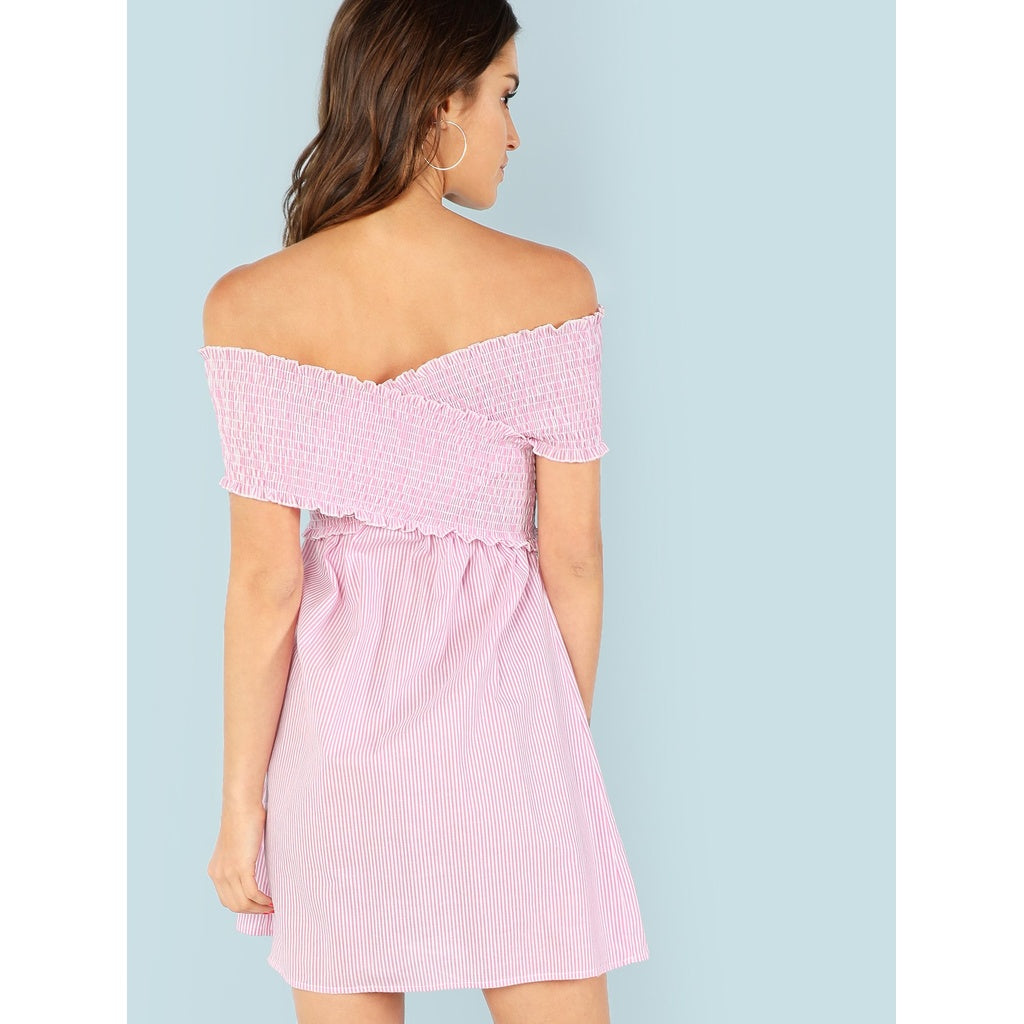 Cross Wrap Frill Trim Shirred Panel Bardot Dress - BrandsGuru