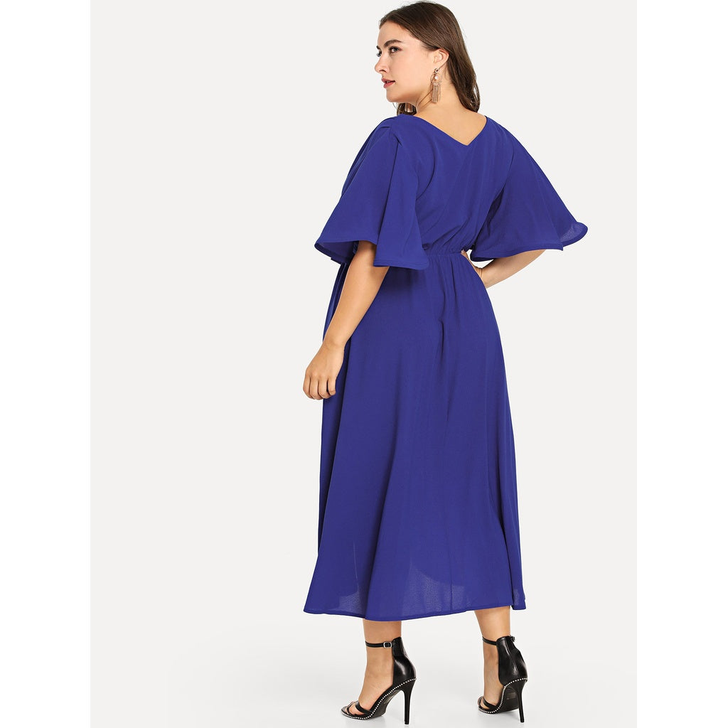 New Elegant Plus Bell Sleeve Surplice Wrap Solid Dress