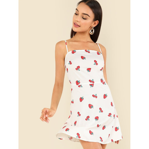 Trendy New Fruit Style Cami Dress
