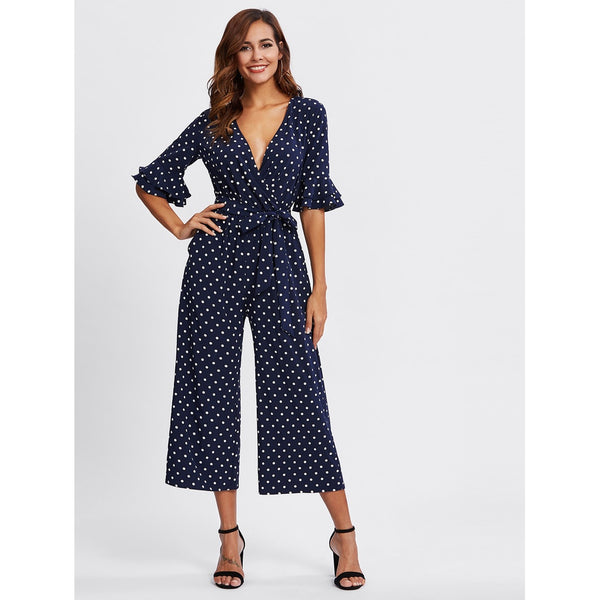 New Sublime Tiered Trumpet Sleeve Surplice Wrap Jumpsuit - BrandsGuru