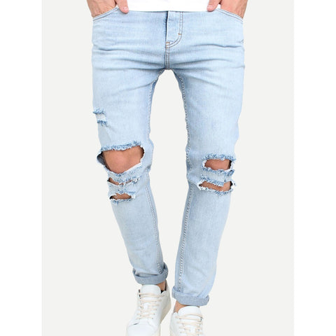 Men Ripped Style Rolled Hem Jeans