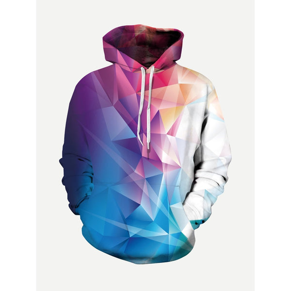 Men Abstract 3D Design Hooded Sweatshirt