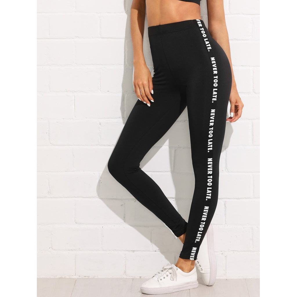 New Sporty Letter Design Side Skinny Leggings