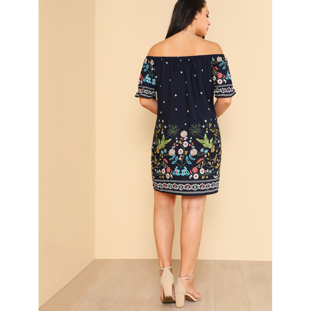 New Unique Botanical Print Off Shoulder Dress - BrandsGuru
