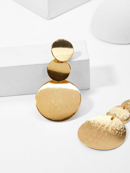 Gold Elegant Layered Disc Drop Earrings