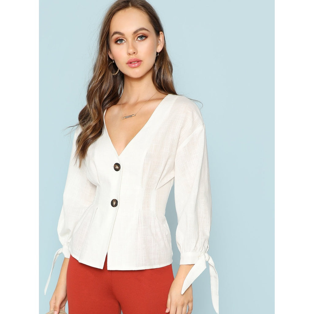 New Milan Style Knot Cuff Button Up Blouse