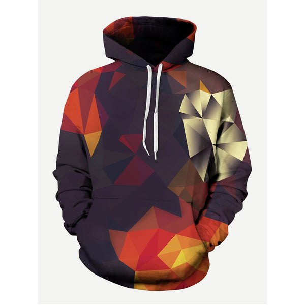 Casual Fashion Abstract Geo Style Hooded Sweatshirt