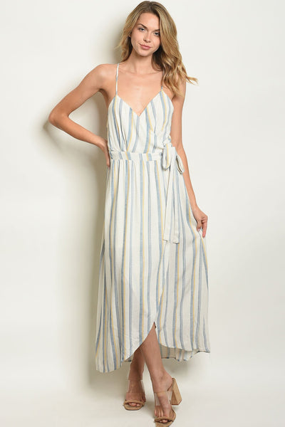 Elegant Womens Ivory Blue Stripes Dress