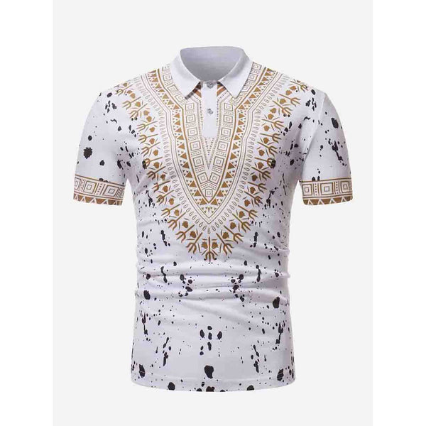 Men Desi Ornate Art Paint Splatter Polo Shirt - BrandsGuru