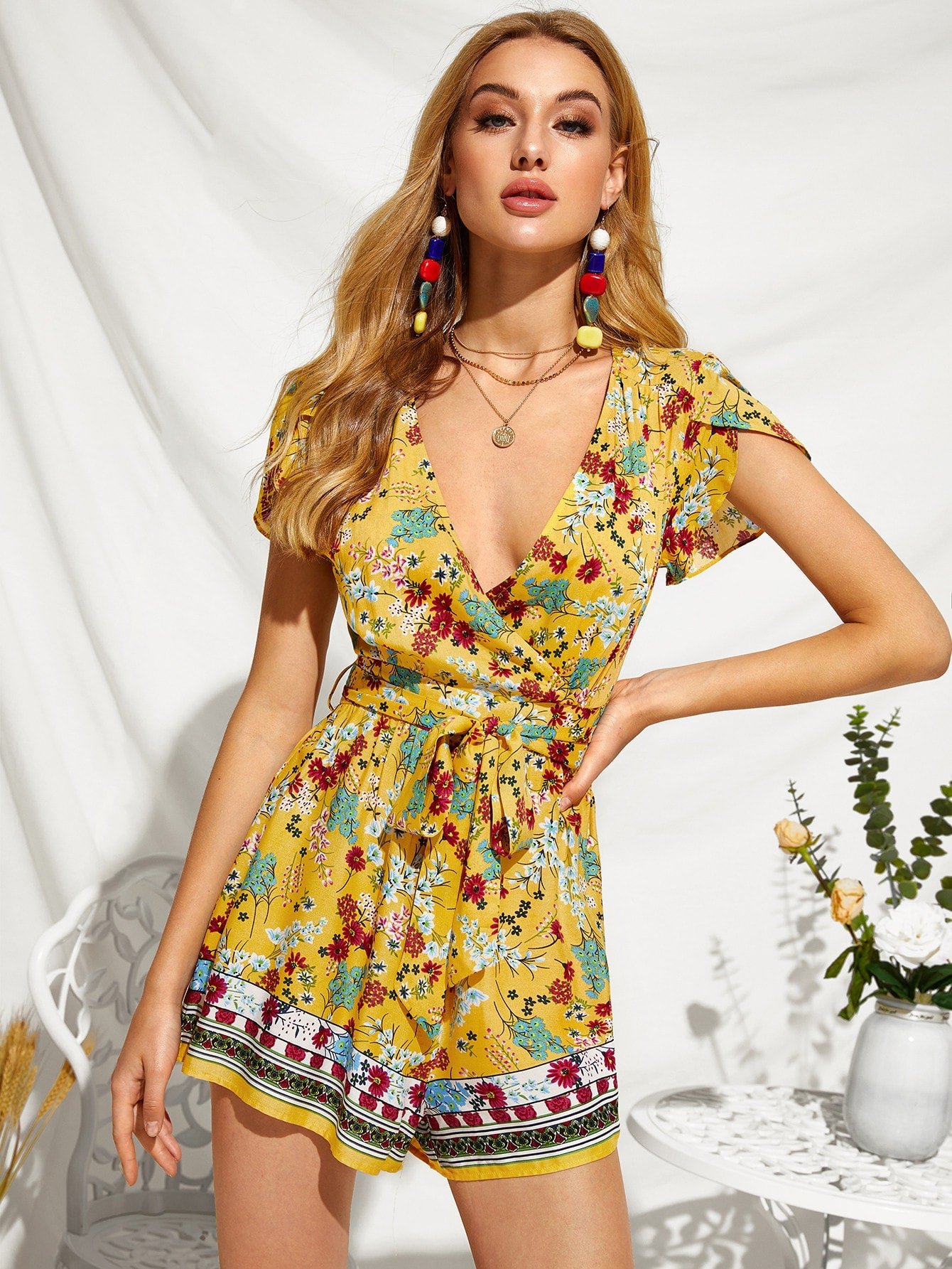Floral Design Plunging Neck Self Belted Suit