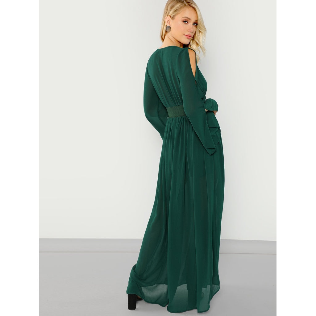 Sublime Long Sleeve Belted Maxi Dress - BrandsGuru