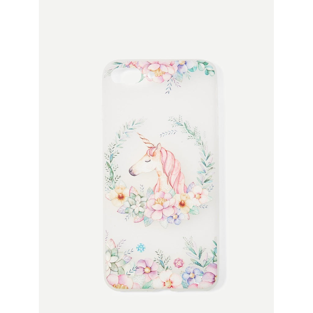 Trendy Flowers & Unicorn Design iPhone Case