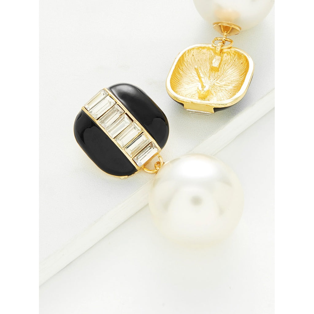 New Trendy Faux Pearl Style Contrast Stud Earrings