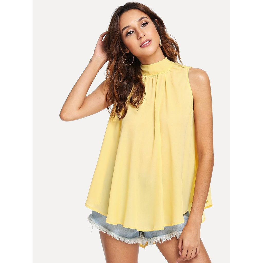 Exotic Neck Pleated Front High Low Top - BrandsGuru