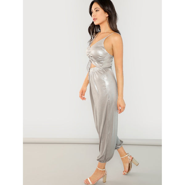 Stylish Sleeveless Jumpsuit with Shirred Bodice And Waist Cutout