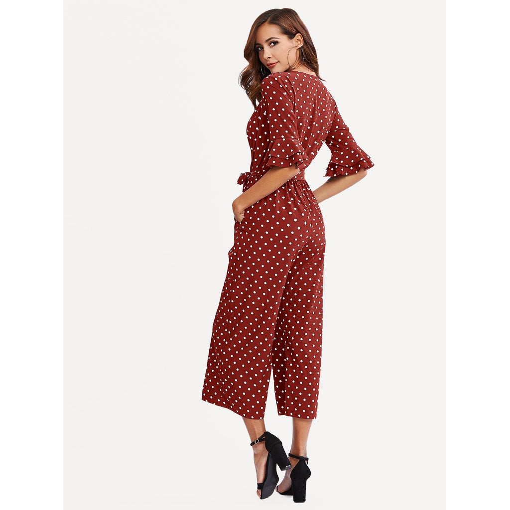 New Tiered Trumpet Sleeve Surplice Wrap Jumpsuit