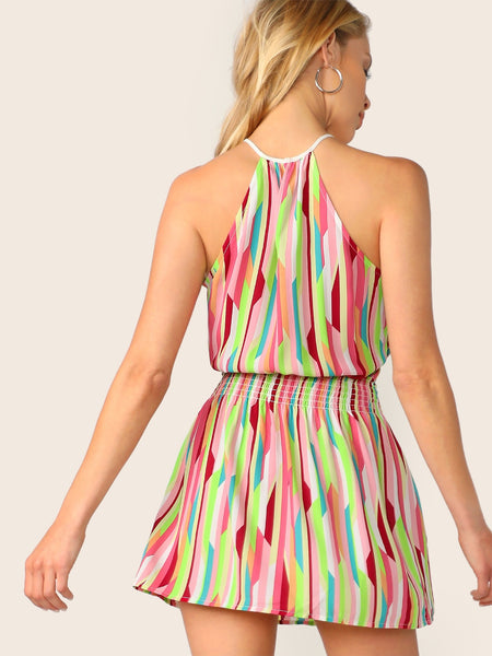 Halter Neck Multi Color Summer Dress