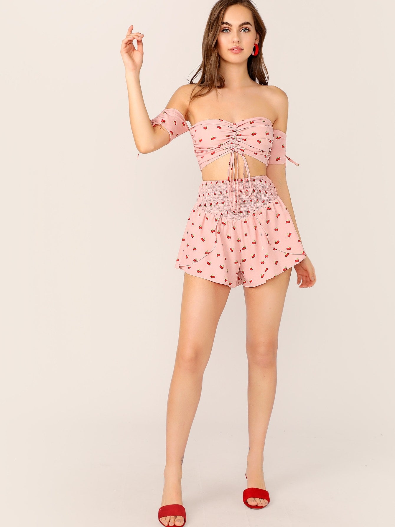Drawstring Summer Top With Shirred Waist Shorts Set