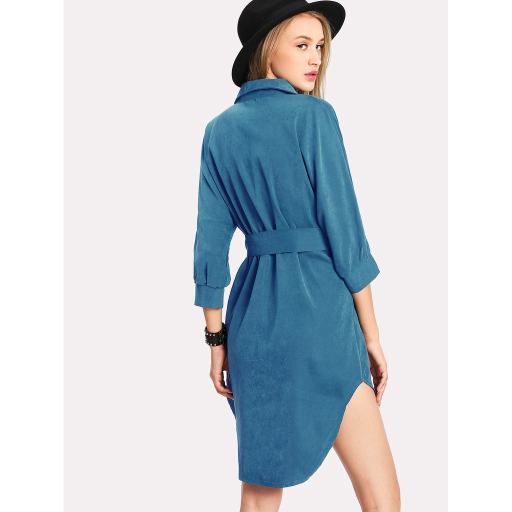 New High Low Curved Hem Shirt Dress