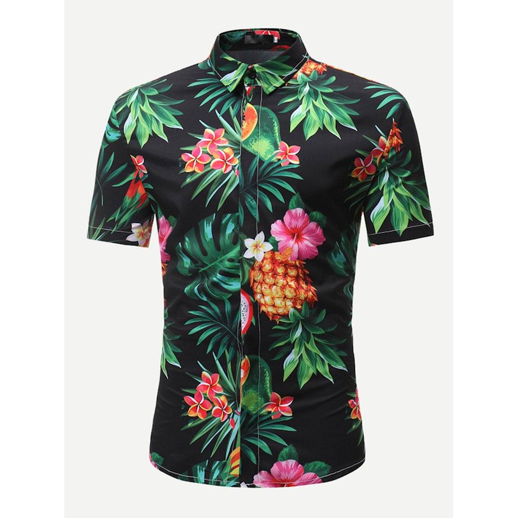 Men Tropical Flower Style Top