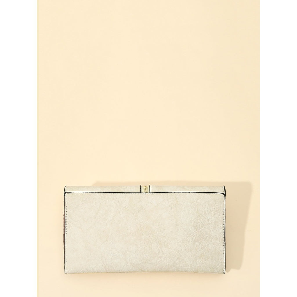 Casual Zipper Front Flap PU Clutch