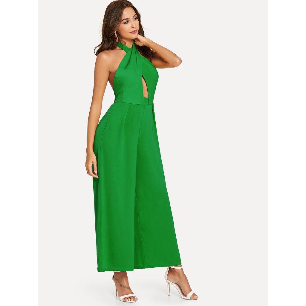 Open Back Sizzling Crisscross Style Halted Solid Jumpsuit