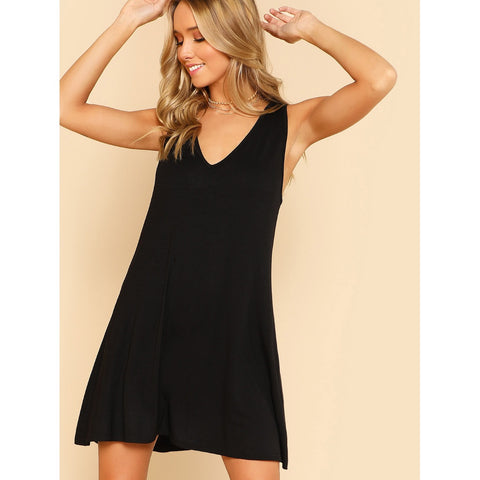 Trendy Style V Neck Sleeveless Swing Dress