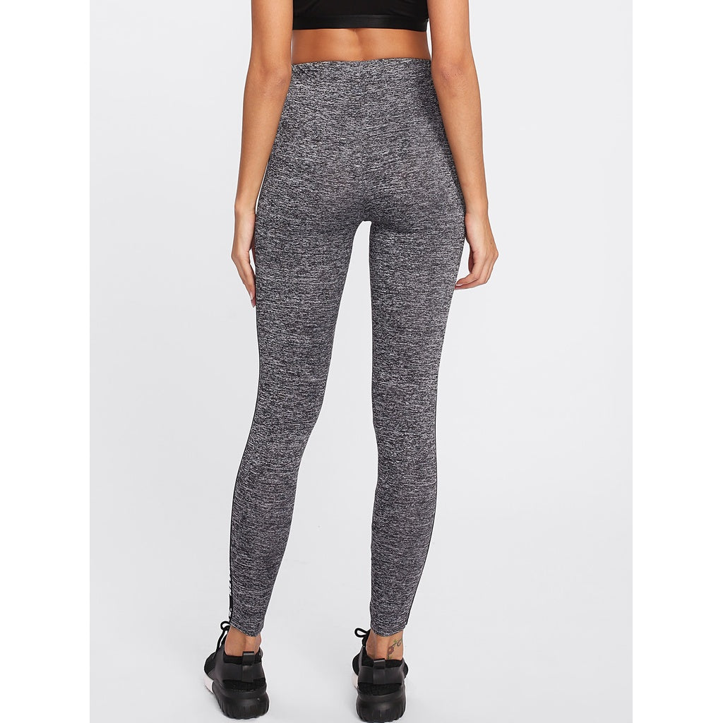 New Sporty Letter Style Side Marled Knit Leggings