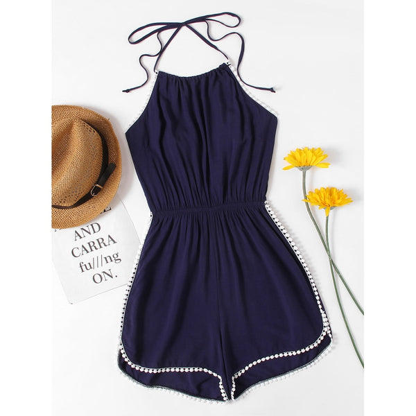New Sublime Halter Neck Lace Trim Romper - BrandsGuru