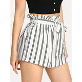 New Stunning Striped Self Tie Waist Pocket Side Shorts