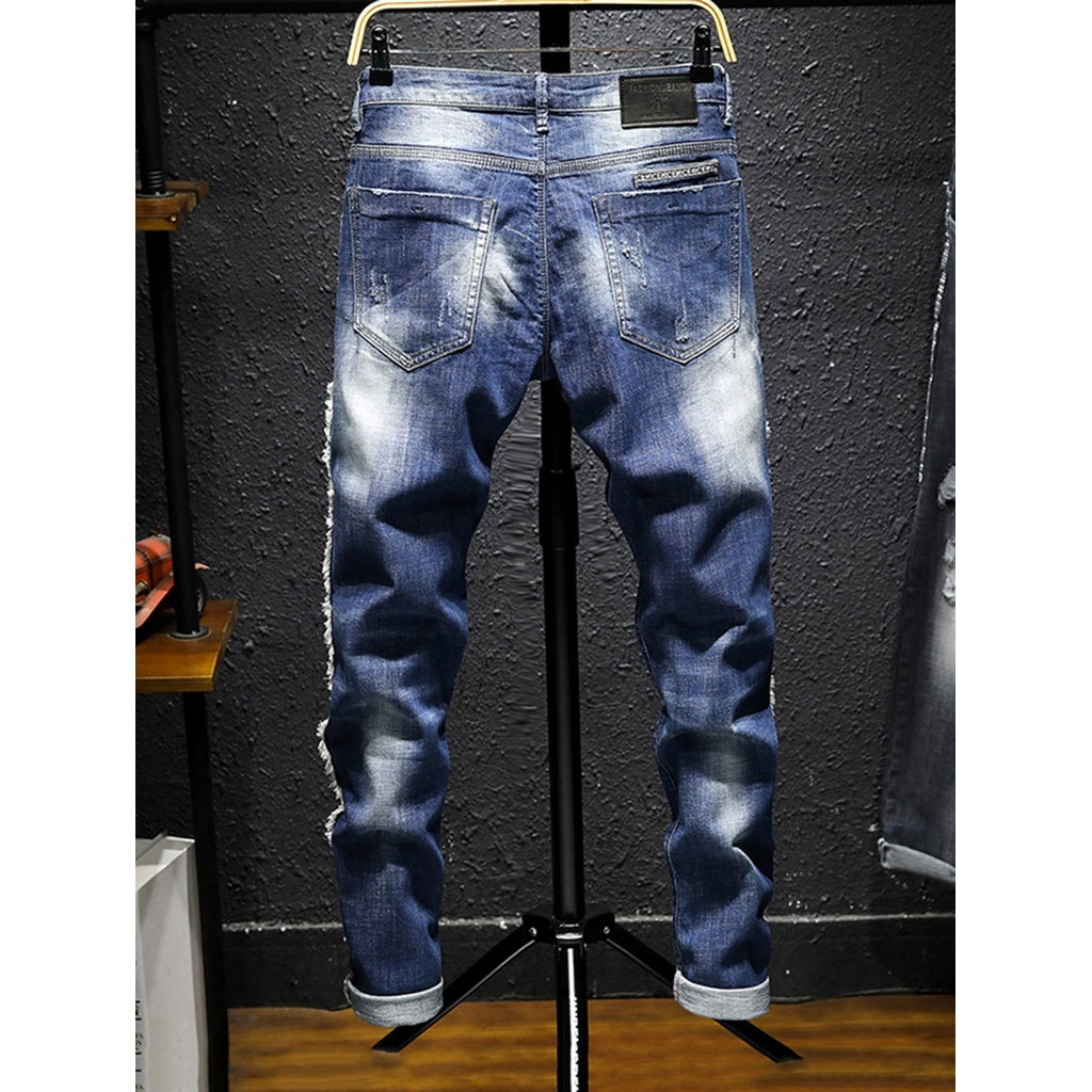 Men Wash Rolled Hem Rugged Style Jeans