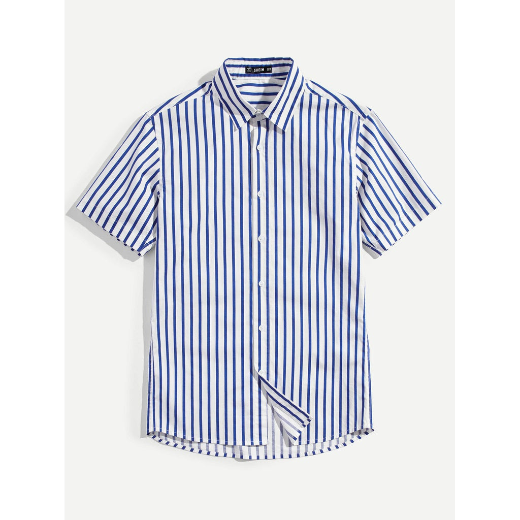 Men Casual Style Short Sleeve Striped Shirt