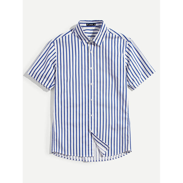 Men Casual Style Short Sleeve Striped Shirt - BrandsGuru